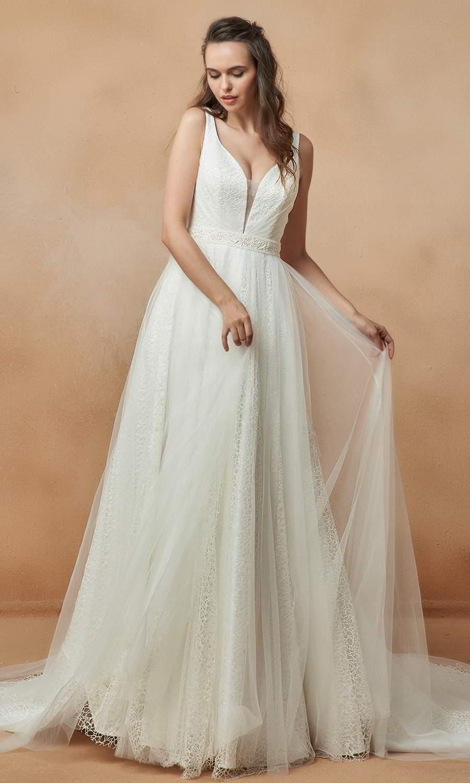 afarose 2021 bridal sleeveless straps plunging v neckline embellished textured a line ball gown wedding dress chapel train (nadia) mv