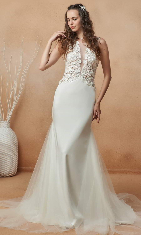 afarose 2021 bridal sleeveless straps plunging v neckline heavily embellished bodice clean skirt sheath wedding dress chapel train (gamila) mv