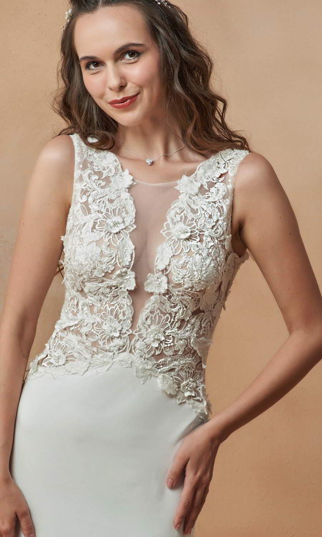 afarose 2021 bridal sleeveless straps plunging v neckline heavily embellished bodice clean skirt sheath wedding dress chapel train (gamila) zv