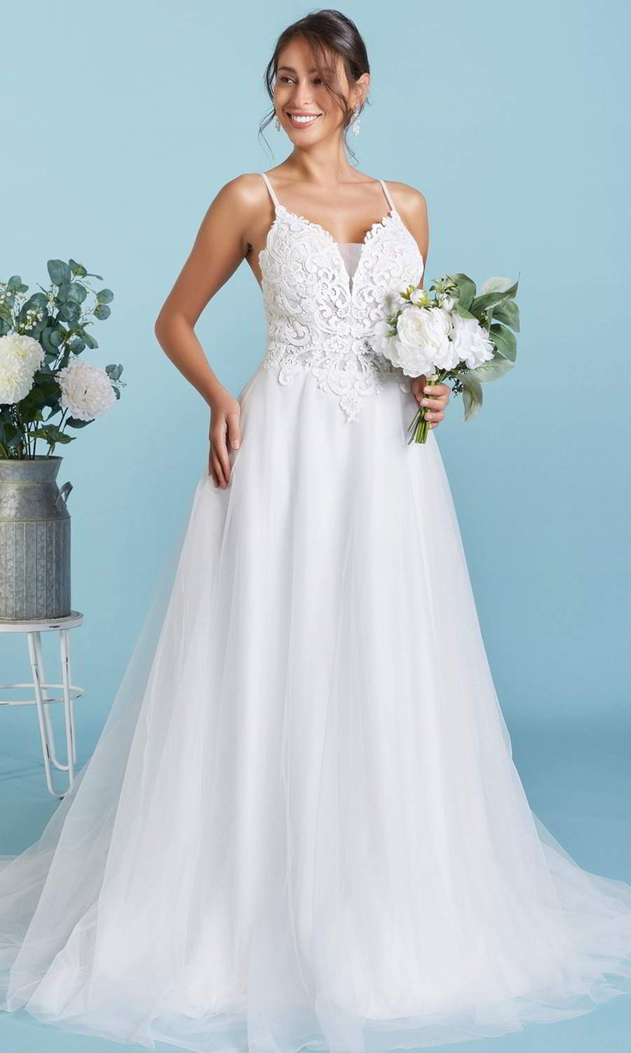 afarose 2021 bridal sleeveless straps sweetheart neckline heavily embellished lace bodice a line ball gown wedding dress (maisie) fv