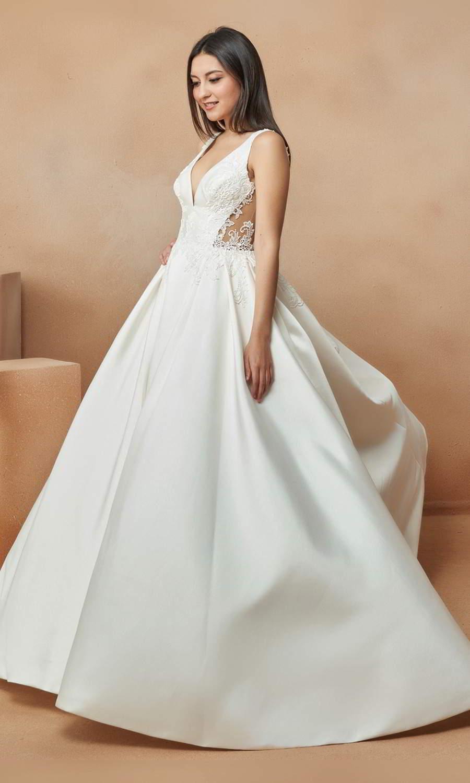 afarose 2021 bridal sleeveless straps v neckline embellished bodice a line ball gown wedding dress chapel train sheer bodice (piegon) mv