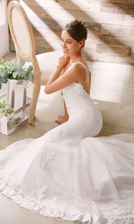 afarose 2021 bridal sleeveless thick straps plunging v neckline embellished lace bodice sheath trumpet mermaid wedding dress (eva) bv