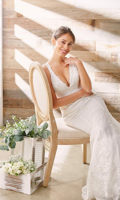 afarose 2021 bridal sleeveless thick straps plunging v neckline embellished lace bodice sheath trumpet mermaid wedding dress (eva) mv