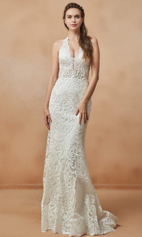 afarose 2021 bridal sleeveless thick straps plunging v neckline heavily embellished boeice sheath plus size wedding dress (dolly) fv