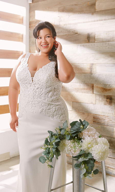 afarose 2021 bridal sleeveless thick straps plunging v neckline heavily embellished boeice sheath plus size wedding dress (pam) mv
