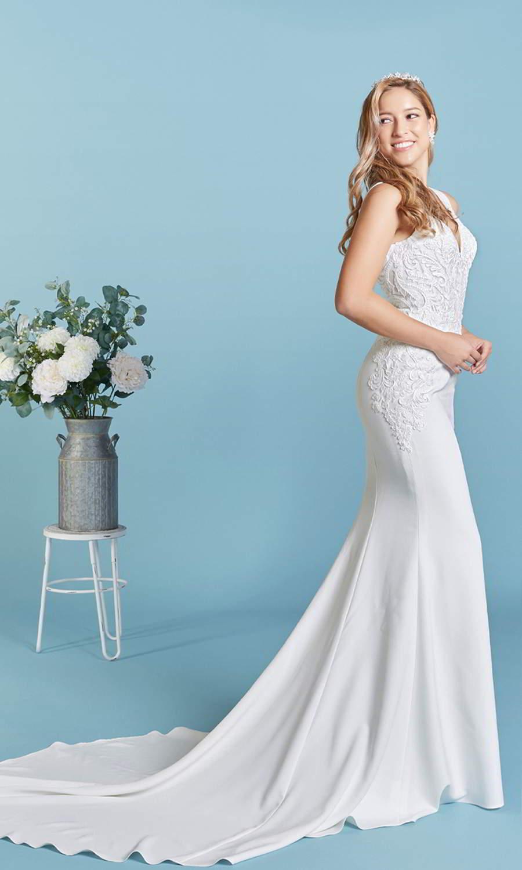 afarose 2021 bridal sleeveless thick straps plunging v neckline heavily embellished boeice sheath plus size wedding dress (pam) sv