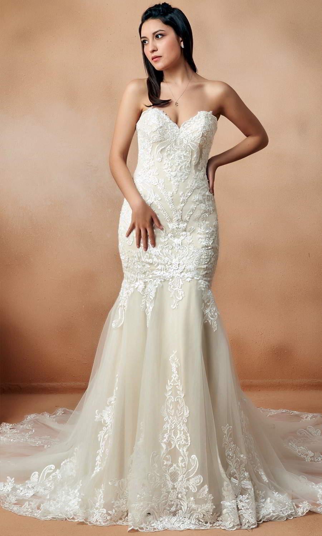 afarose 2021 bridal strapless sweetheart neckline heavily embellished bodice fit flare mermaid wedding dress chapel train (regina) mv