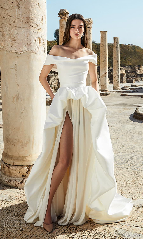 alon livne 2021 bridal off shoulder straps cowl neckline clean minimalist high low a line ball gown wedding dress chapel train (1) mv