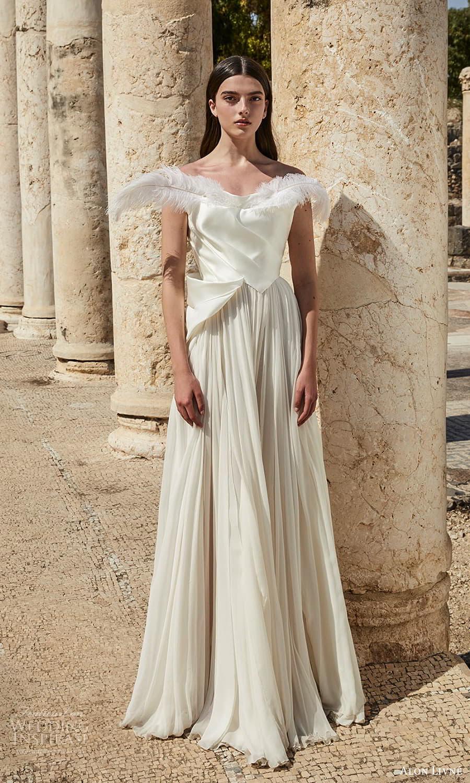 alon livne 2021 bridal off shoulders straps cowl neckline pleated bodice a line wedding dress pleated skirt (7) mv