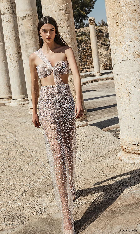 alon livne 2021 bridal one shoulder strap sweetheart neckline side cutout fully embellished sheath wedding dress (11) mv