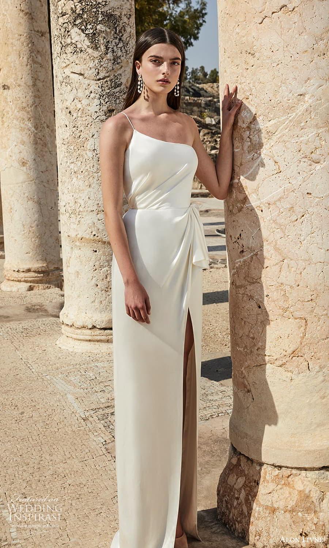 alon livne 2021 bridal one shoulder straps asymmetric neckline pleated bodice clean minimalist sheath wedding dress slit train (14) mv