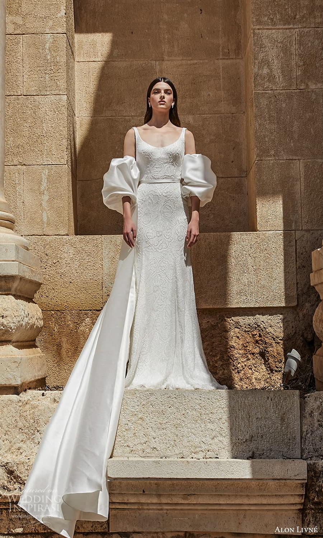 alon livne 2021 bridal sleeveless straps scoop neckline embellished sheath wedding dress chapel train detached puff sleeves (12) mv
