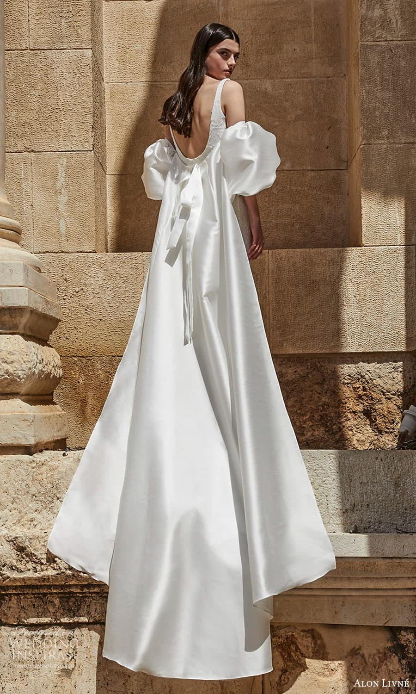 alon livne 2021 bridal sleeveless straps scoop neckline embellished sheath wedding dress chapel train detached puff sleeves scoop back (12) bv