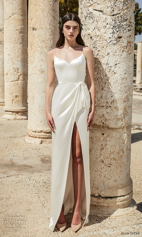 alon livne 2021 bridal sleeveless straps sweetheart neckline clean minimalist sheath wedding dress slit skirt chapel train (8) mv