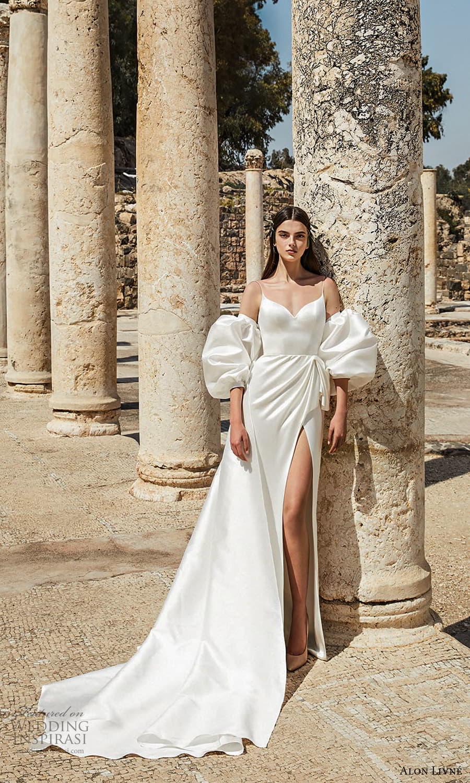 alon livne 2021 bridal sleeveless straps sweetheart neckline clean minimalist sheath wedding dress slit skirt chapel train detached puff sleeves (8) mv
