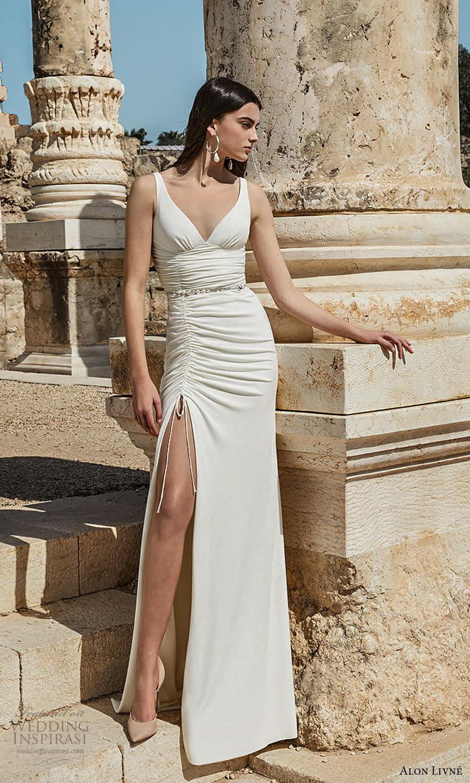 alon livne 2021 bridal sleeveless straps v neckline ruched bodice sheath wedding dress chapel train slit skirt (9) mv
