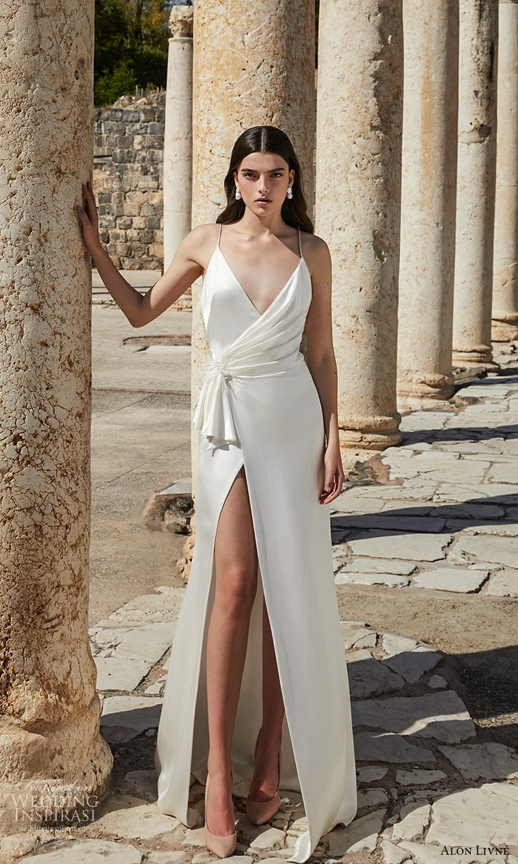 alon livne 2021 bridal sleeveless thin straps surplice v neckline clean minimalist sheath wedding dress slit skirt (5) mv