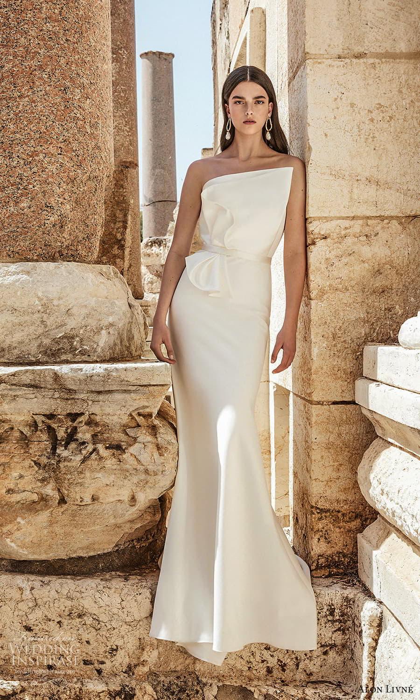 alon livne 2021 bridal strapless asymmetric neckline clean minimalist modern sheath wedding dress chapel train (4) mv