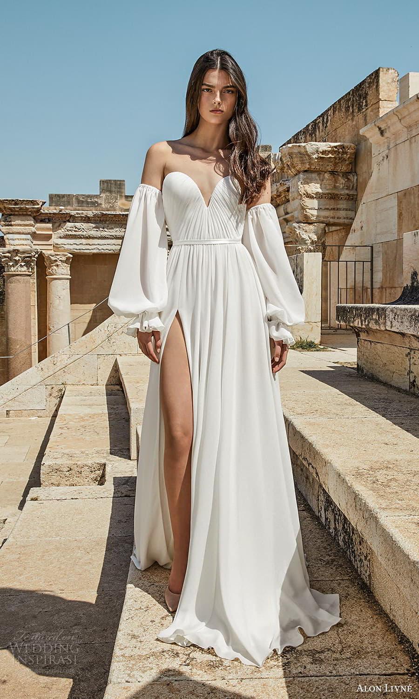 alon livne 2021 bridal strapless sweetheart neckline clean minimalist a line wedding dress chapel train detached long bishop sleeves (3) mv