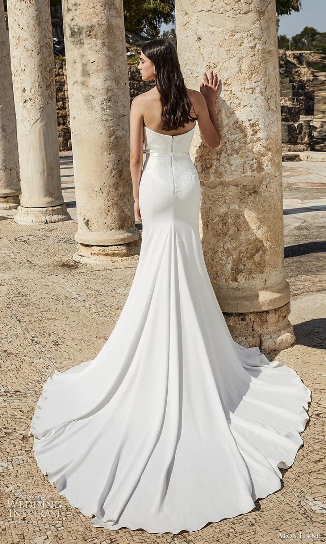 alon livne 2021 bridal strapless sweetheart neckline embellished lace waist clean sheath wedding dress chapel train (2) bv