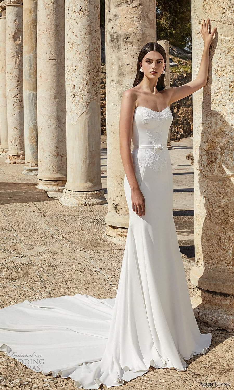 alon livne 2021 bridal strapless sweetheart neckline embellished lace waist clean sheath wedding dress chapel train (2) mv