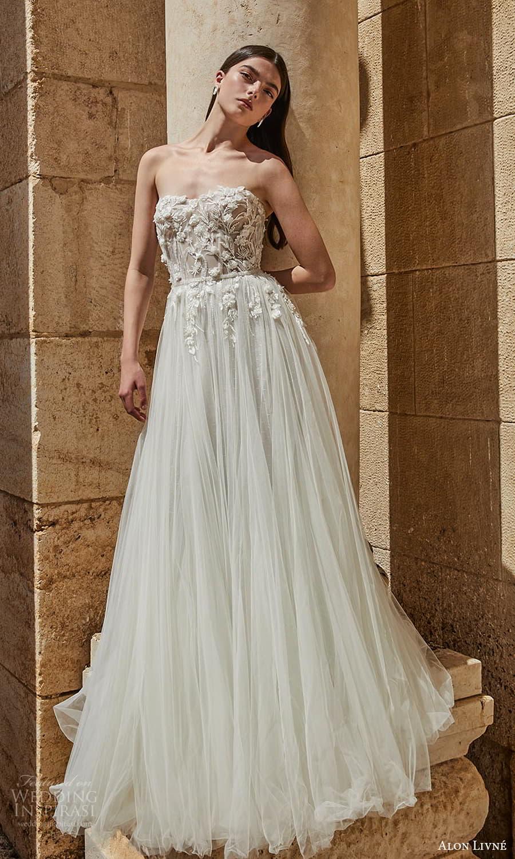 alon livne 2021 bridal strapless sweetheart neckline heavily embellished bodice a line ball gown wedding dress chapel train (10) mv