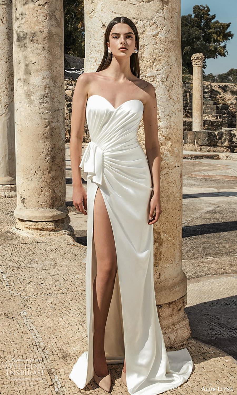 alon livne 2021 bridal strapless sweetheart neckline pleated bodice clean minimalist sheath wedding dress slit skirt sweep train (15) mv