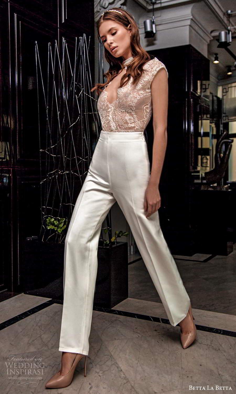 betta la betta 2021 bridal cap sleee lace top clean minimalist pant 2 piece wedding separates (16) mv