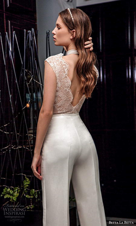 betta la betta 2021 bridal cap sleee lace top clean minimalist pant 2 piece wedding separates scallop back (16) zbv