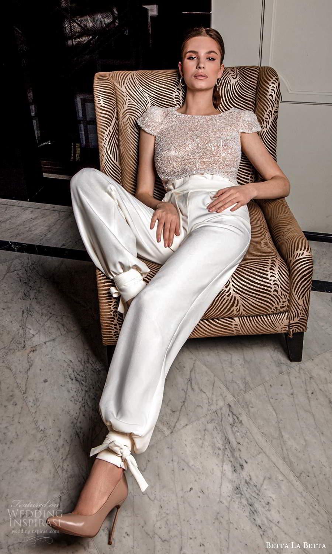 betta la betta 2021 bridal cap sleeve heavily embellished top clean sheath skirt sweep train 2 piece pant wedding dress (4) mv