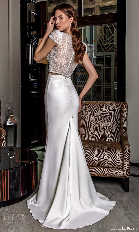 betta la betta 2021 bridal cap sleeve heavily embellished top clean sheath skirt sweep train 2 piece wedding dress (4) bv
