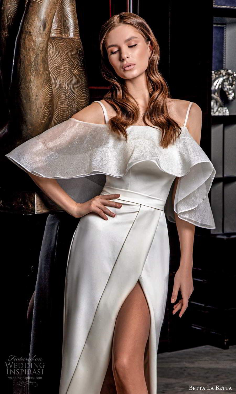 betta la betta 2021 bridal cold shoulder flutter sleeves straps straight across neckline clean minimalist short knee length wedding dress slit skirt (7) zv