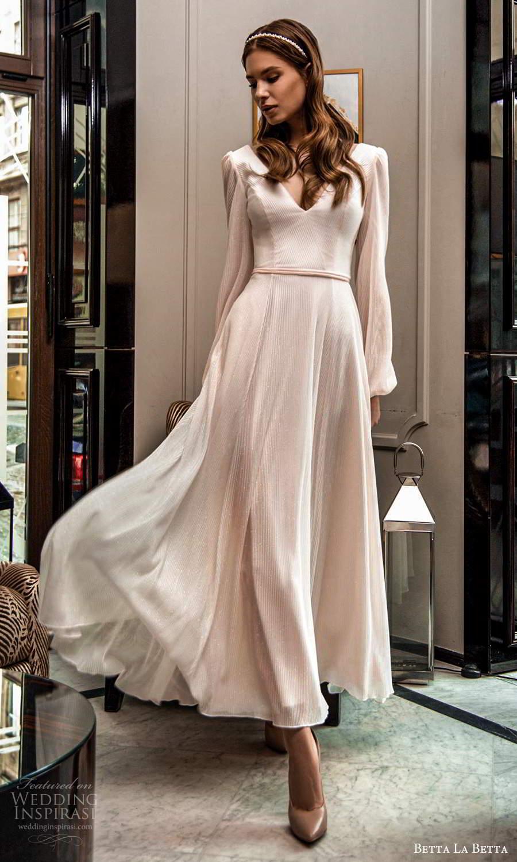 betta la betta 2021 bridal long bishop sleeves v neckline textured minimalist tea length a line wedding dress (5) mv