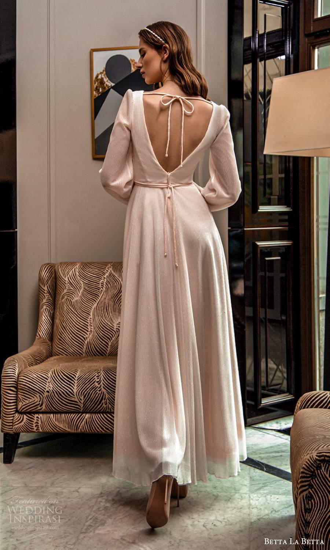 betta la betta 2021 bridal long bishop sleeves v neckline textured minimalist tea length a line wedding dress v back (5) bv