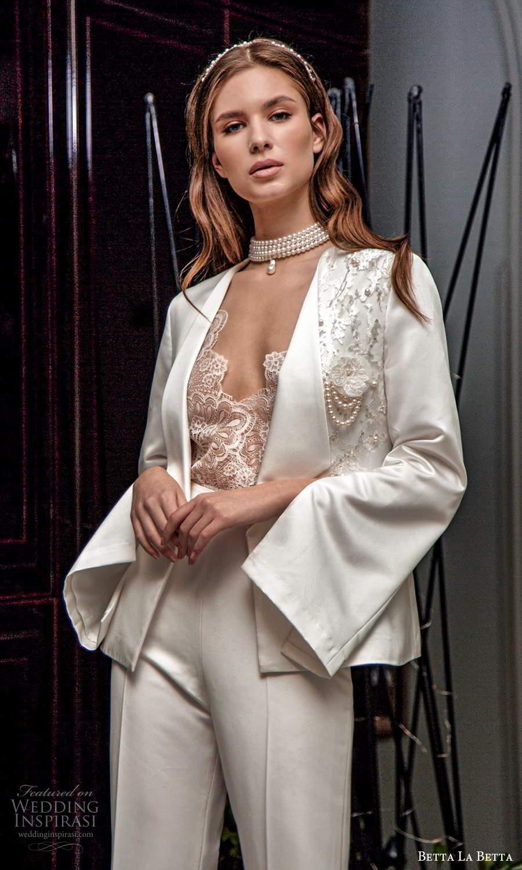 betta la betta 2021 bridal long sleeve blazer jacket cap sleee lace top clean minimalist pant 2 piece wedding separates (16) mv