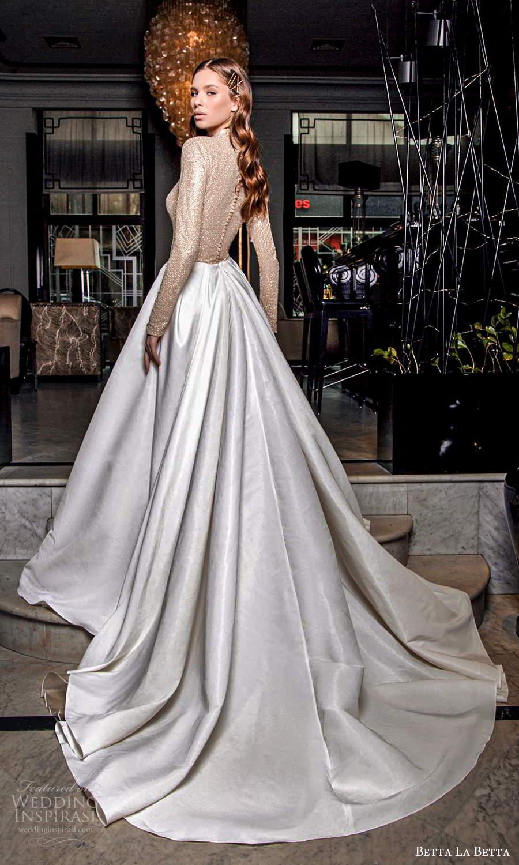 betta la betta 2021 bridal long sleeve high neckline embellished bodice clean skirt a line ball gown overskirt mini wedding dress chapel train (2) bv
