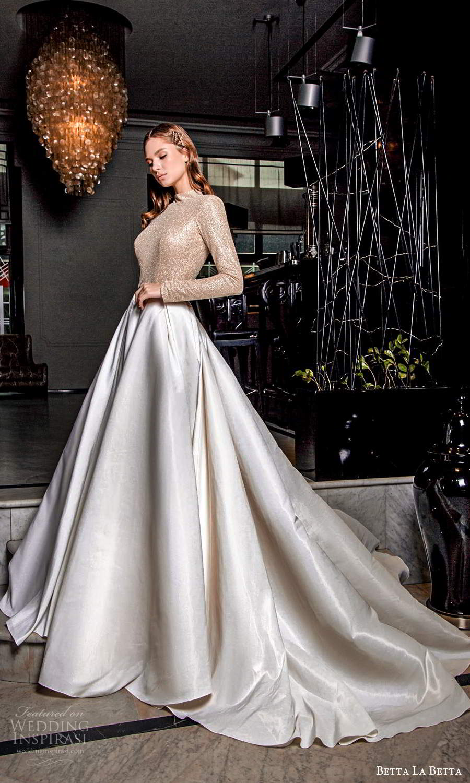 betta la betta 2021 bridal long sleeve high neckline embellished bodice clean skirt a line ball gown overskirt mini wedding dress chapel train (2) mv