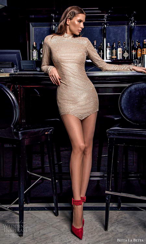 betta la betta 2021 bridal long sleeve high neckline embellished sheath mini wedding dress (2) mv
