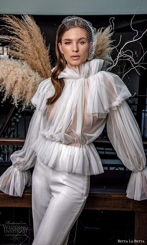 betta la betta 2021 bridal long sleeve high neckline ruffle pleated sheer top (15) mv