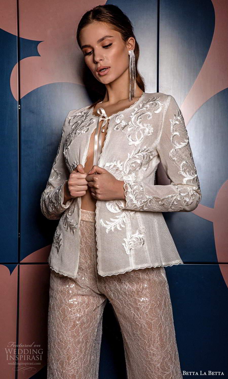 betta la betta 2021 bridal long sleeve jewel neck blazer bridal jacket pant 2 piece wedding dress (14) mv