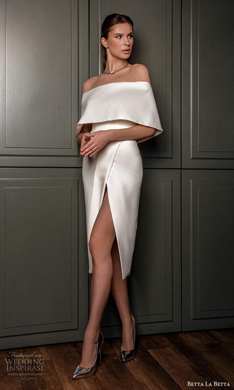 betta la betta 2021 bridal off shoulder cape sleeves clean minimalist short wedding dress slit skirt (9) mv