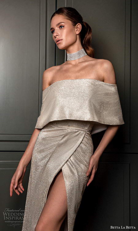 betta la betta 2021 bridal off shoulder cape sleeves clean minimalist short wedding dress slit skirt silver (9) zv