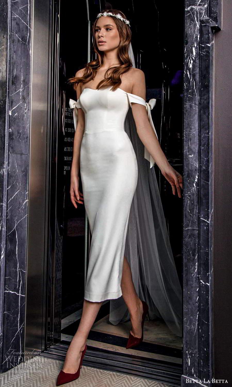 betta la betta 2021 bridal off shoulder straps semi sweetheart neckline clean minimalist tea length sheath wedding dress (3) mv