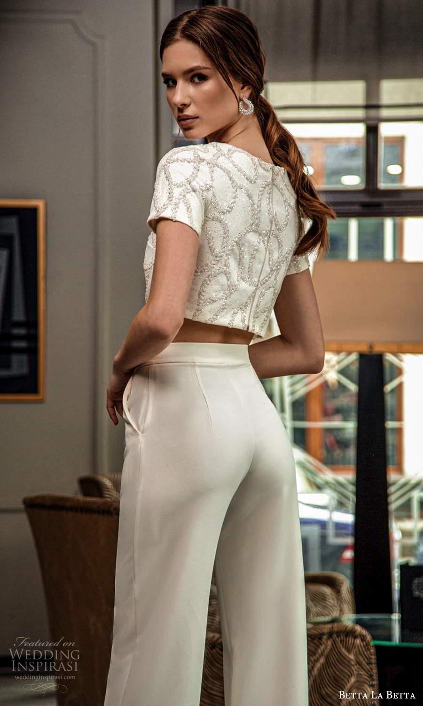 betta la betta 2021 bridal short sleeve crop top pant 2 piece wedding dress (6) bv