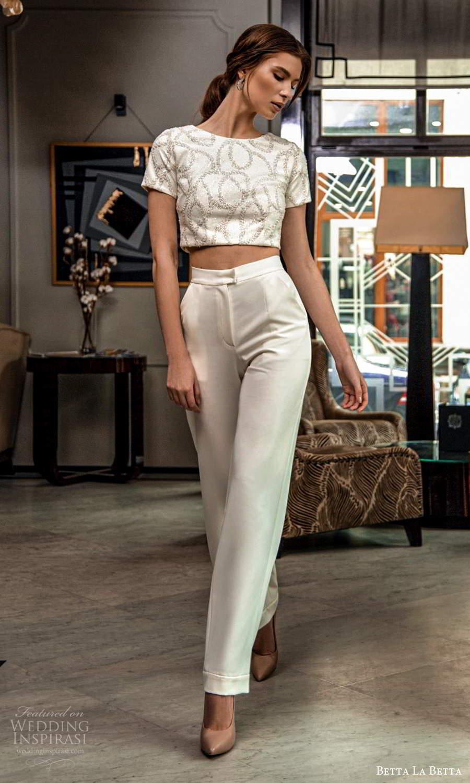 betta la betta 2021 bridal short sleeve crop top pant 2 piece wedding dress (6) mv