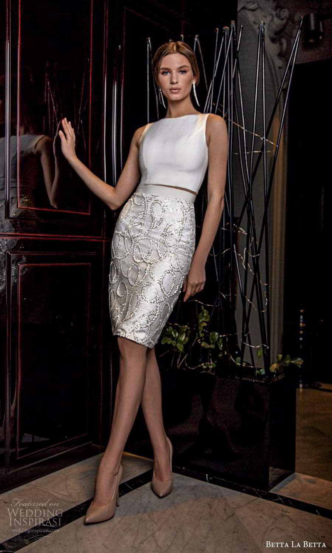 betta la betta 2021 bridal sleeveless straps bateau neckline clean top embellished short skirt 2 piece wedding dress (12) mv