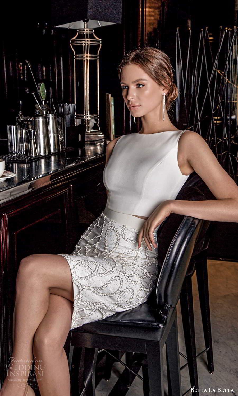 betta la betta 2021 bridal sleeveless straps bateau neckline clean top embellished short skirt 2 piece wedding dress (12) zv