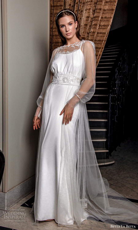 betta la betta 2021 bridal sleeveless straps scoop neckline minimalist clean sheath wedding dress sheer long sleeve jewel neck overdress coat (8) mv