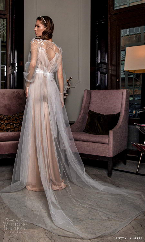 betta la betta 2021 bridal sleeveless straps scoop neckline minimalist clean sheath wedding dress sheer long sleeve jewel neck overdress coat champagne (8) bv