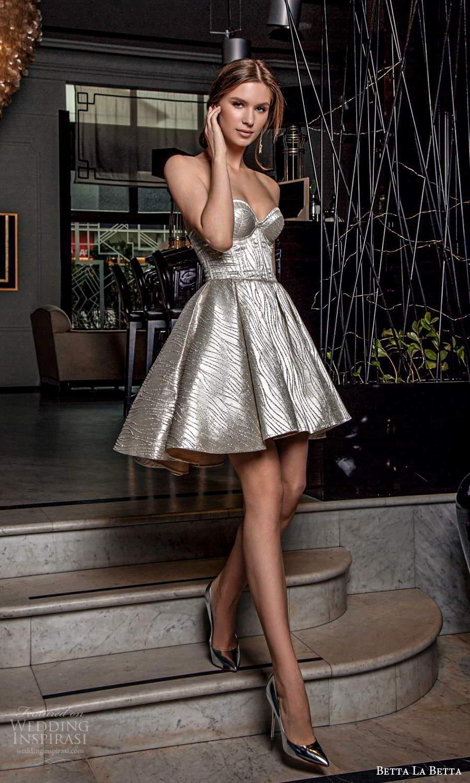 betta la betta 2021 bridal strapless sweetheart fully embellished short a line wedding dress silver (10) mv